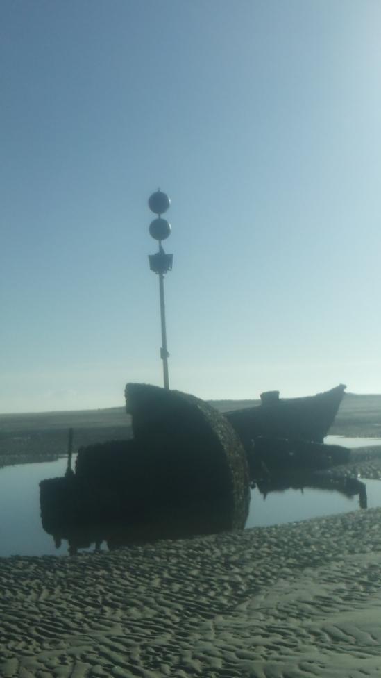 SS Vina at low tide
